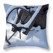 Rustic Wheel In The Snow#2 Throw Pillow
