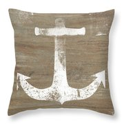 Rustic White Anchor- Art By Linda Woods Throw Pillow by Linda Woods