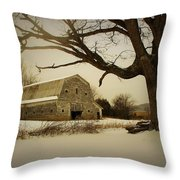 Rustic White Barn In Winter - Boone N.c.  Throw Pillow