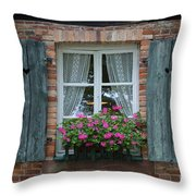 Rustic Window And Red Bricks Wall Throw Pillow by Yair Karelic