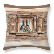 Rustic Window Throw Pillow