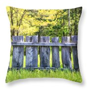 Rustic Wooden Fence At Old World Wisconsin Throw Pillow