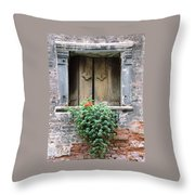 Rustic Wooden Window Shutters Throw Pillow