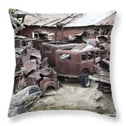 Rusting Antique Cars Throw Pillow
