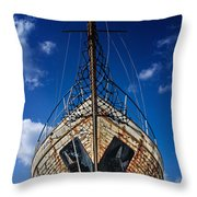 Rusting Boat Throw Pillow by Stelios Kleanthous