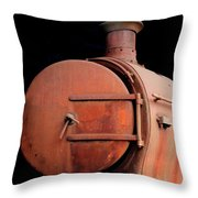 Rusty Abandoned Steam Locomotive Throw Pillow