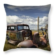 Rusty Auto Wreck Out West Throw Pillow
