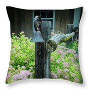 Rusty Bell On Weathered Fence Throw Pillow