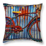 Rusty Bike With Lights Throw Pillow