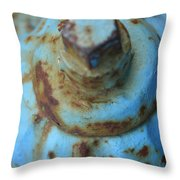 Rusty Blue Fire Hydrant Throw Pillow