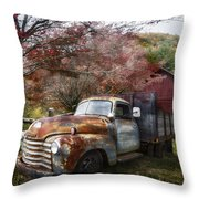 Rusty Chevy Pickup Truck Throw Pillow