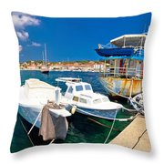 Rusty Fishing Boat In Sali Harbor Throw Pillow
