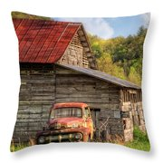 Rusty Ford At The Barn Throw Pillow