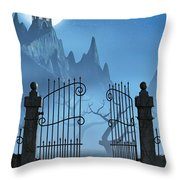 Rusty Gate And A Spooky Dark Castle Throw Pillow