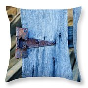 Rusty Hinge In The Blue Of The Evening Throw Pillow