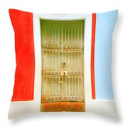 Rusty Iron Door Throw Pillow by Perry Webster