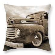 Rusty Jewel In Sepia - 1948 Ford Throw Pillow