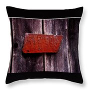 Rusty License Plate Throw Pillow
