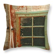 Rusty Lighthouse Window Throw Pillow