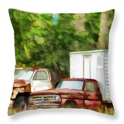 Rusty Old Abandoned Truck 1 Throw Pillow
