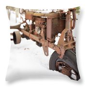 Rusty Old Steel Wheel Tractor In The Snow Tilt Shift Throw Pillow