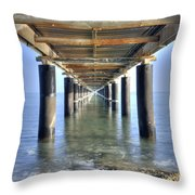 Rusty Pier  On The Ocean  From Below Throw Pillow