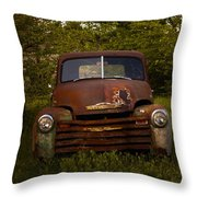 Rusty Red Chevy Throw Pillow