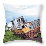 Rusty Retired Fishing Boat Throw Pillow