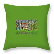 Rusty Roof Throw Pillow