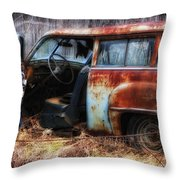 Rusty Station Wagon Throw Pillow by Ken Barrett