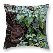 Rusty Wheel Throw Pillow
