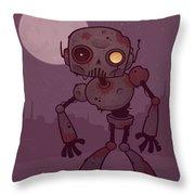 Rusty Zombie Robot Throw Pillow