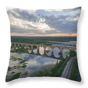 Rva Sunset Train Bridge Style Throw Pillow