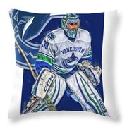 Ryan Miller Vancouver Canucks Oil Art Throw Pillow