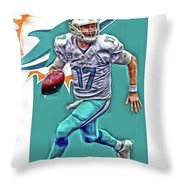Ryan Tannehill Miami Dolphins Oil Art Throw Pillow