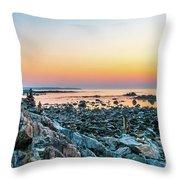 Rye, New Hampshire Sunrise Cairns Throw Pillow