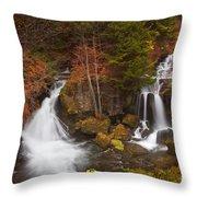 Ryuzu Falls Near Nikko In Japan In Autumn Throw Pillow