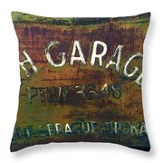 S And H Garage Throw Pillow