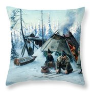 Saami Family At The Hut Throw Pillow
