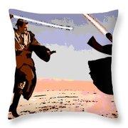 Saber Battle Throw Pillow