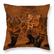 Saber-toothed Tiger Cave Throw Pillow
