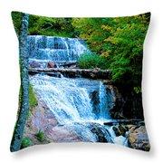 Sable Falls At Pictured Rocks National Lakeshore Trail, Michigan  Throw Pillow