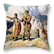 Sacagawea With Lewis And Clark During Their Expedition Of 1804-06 Throw Pillow by Newell Convers Wyeth