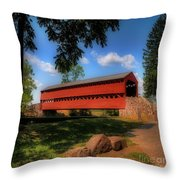 Sach's Covered Bridge Throw Pillow by Lois Bryan