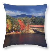 Saco River Covered Bridge Storm Throw Pillow