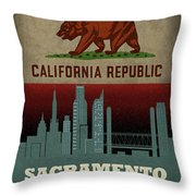 Sacramento City Skyline State Flag Of California Art Poster Series 023 Throw Pillow