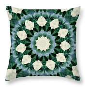 Sacramento Green And Cerulean Blue Mandala Throw Pillow