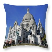Sacre Coeur In The Montmartre Area Of Paris, France  Throw Pillow