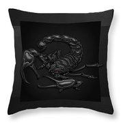 Sacred Black Scorpion On Black Canvas Throw Pillow