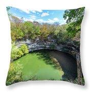Sacred Cenote In Chichen Itza Throw Pillow